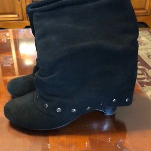 Naughty Monkey black suede booties. Size 6.5